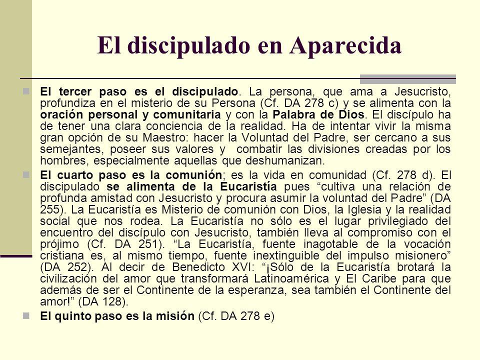 El discipulado en Aparecida El tercer paso es el discipulado. La persona, que ama a Jesucristo, profundiza en el misterio de su Persona (Cf. DA 278 c)