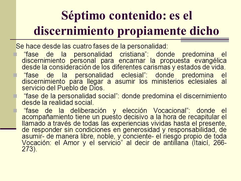 Séptimo contenido: es el discernimiento propiamente dicho Se hace desde las cuatro fases de la personalidad: fase de la personalidad cristiana: donde