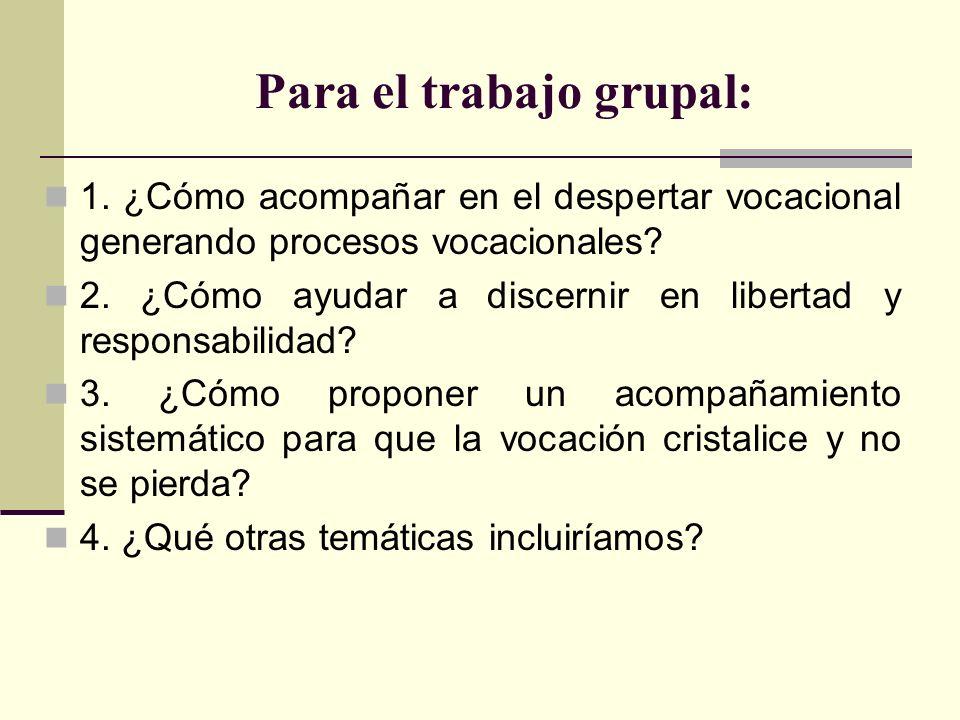 Para el trabajo grupal: 1. ¿Cómo acompañar en el despertar vocacional generando procesos vocacionales? 2. ¿Cómo ayudar a discernir en libertad y respo