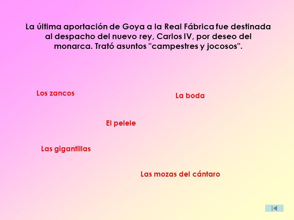 La última aportación de Goya a la Real Fábrica fue destinada al despacho del nuevo rey, Carlos IV, por deseo del monarca. Trató asuntos
