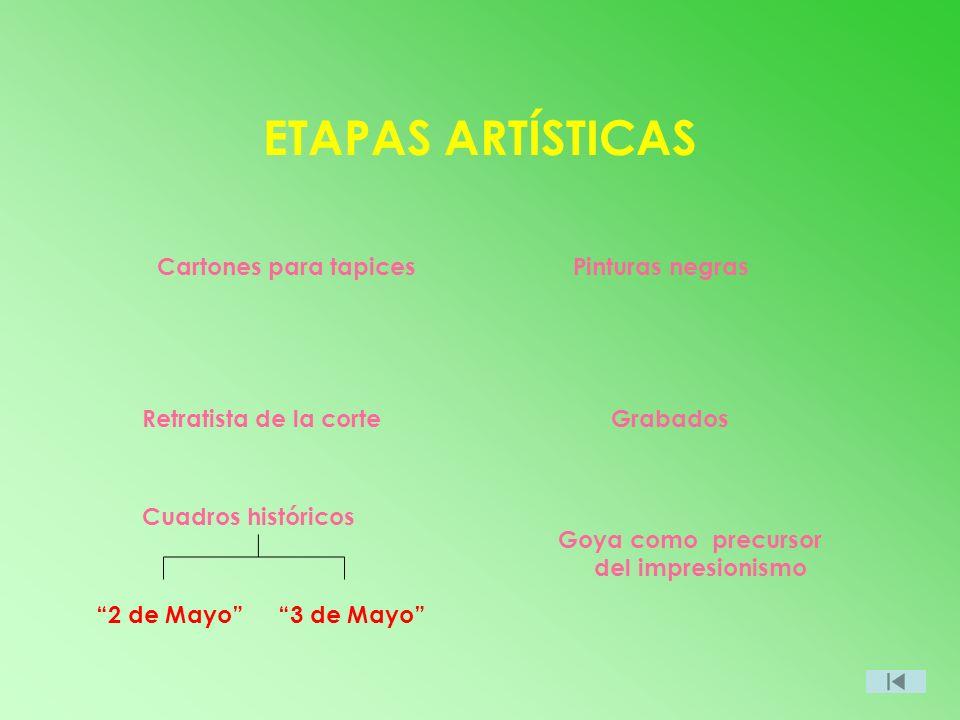 ETAPAS ARTÍSTICAS Cartones para tapices Retratista de la corte Cuadros históricos Grabados Goya como precursor del impresionismo 2 de Mayo3 de Mayo Pi