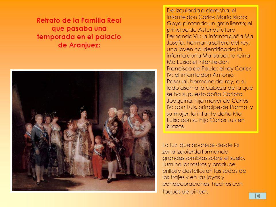 Retrato de la Familia Real que pasaba una temporada en el palacio de Aranjuez: De izquierda a derecha: el infante don Carlos María Isidro; Goya pintan