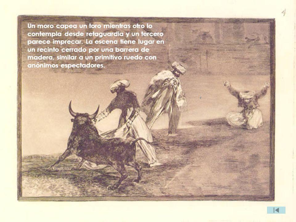 Un moro capea un toro mientras otro lo contempla desde retaguardia y un tercero parece imprecar. La escena tiene lugar en un recinto cerrado por una b