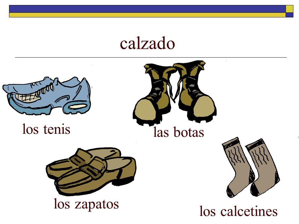calzado los tenis los zapatos las botas los calcetines