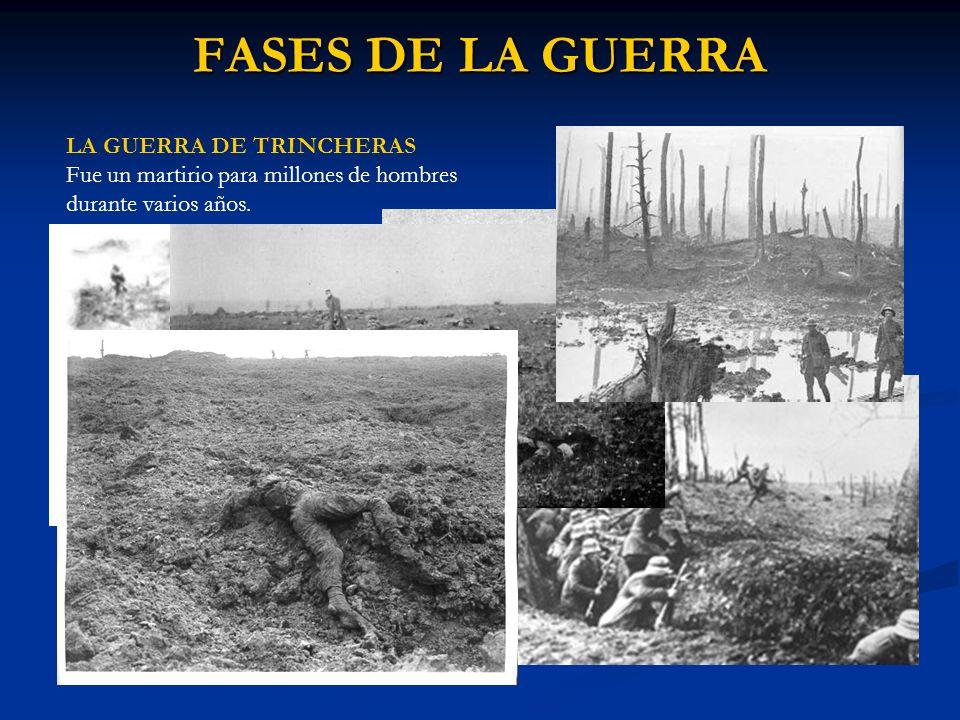 FASES DE LA GUERRA LA GUERRA DE TRINCHERAS Fue un martirio para millones de hombres durante varios años.
