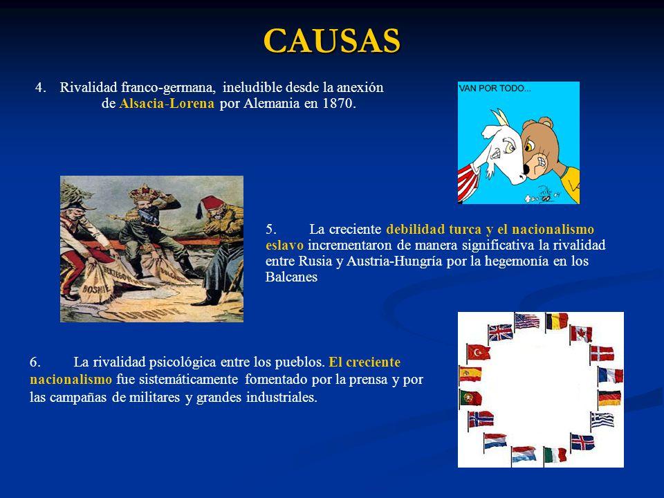 CAUSAS 4.Rivalidad franco-germana, ineludible desde la anexión de Alsacia-Lorena por Alemania en 1870.