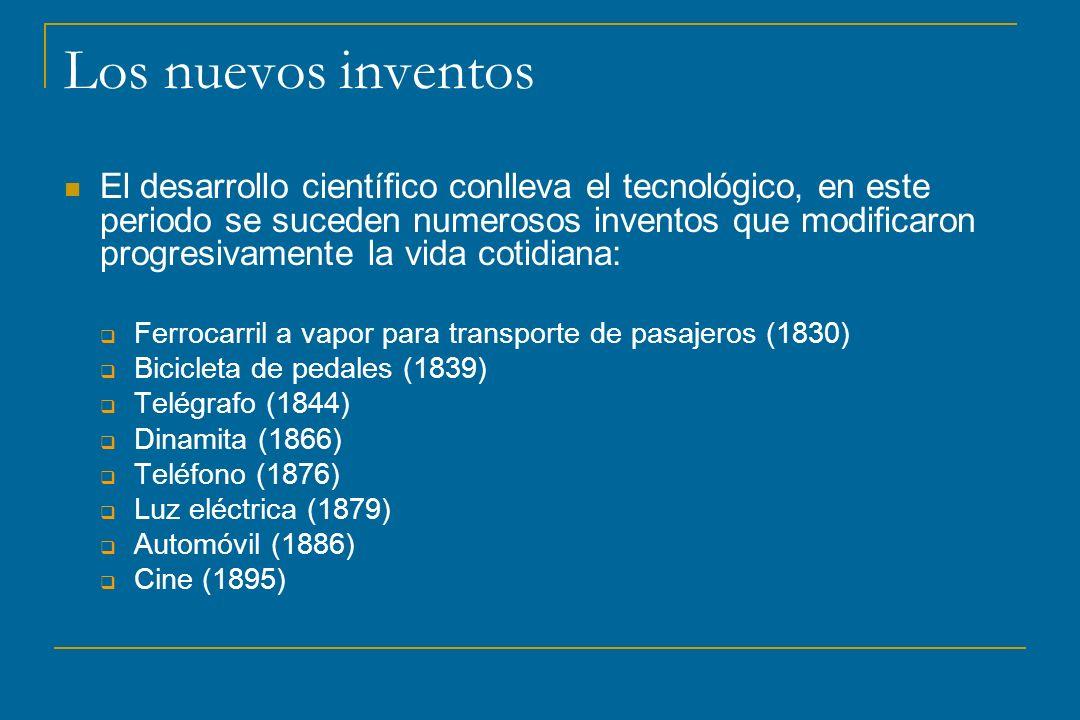Los nuevos inventos El desarrollo científico conlleva el tecnológico, en este periodo se suceden numerosos inventos que modificaron progresivamente la