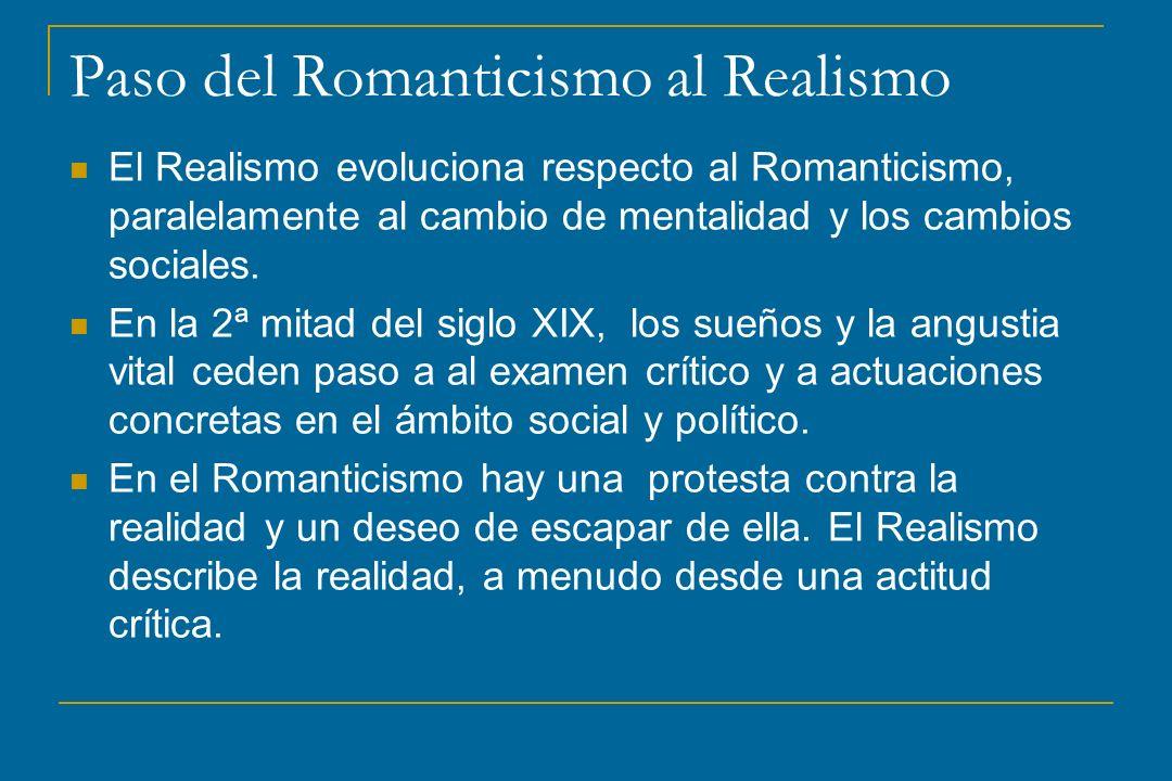 Paso del Romanticismo al Realismo El Realismo evoluciona respecto al Romanticismo, paralelamente al cambio de mentalidad y los cambios sociales. En la
