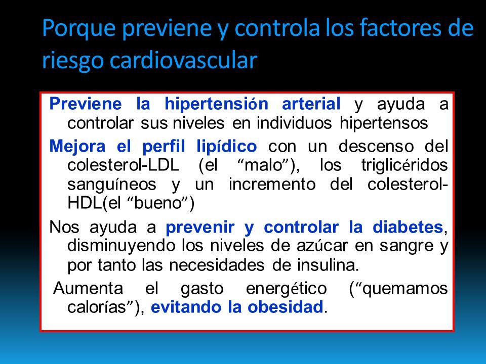 Porque previene y controla los factores de riesgo cardiovascular Previene la hipertensi ó n arterial y ayuda a controlar sus niveles en individuos hipertensos Mejora el perfil lip í dico con un descenso del colesterol-LDL (el malo ), los triglic é ridos sangu í neos y un incremento del colesterol- HDL(el bueno ) Nos ayuda a prevenir y controlar la diabetes, disminuyendo los niveles de az ú car en sangre y por tanto las necesidades de insulina.