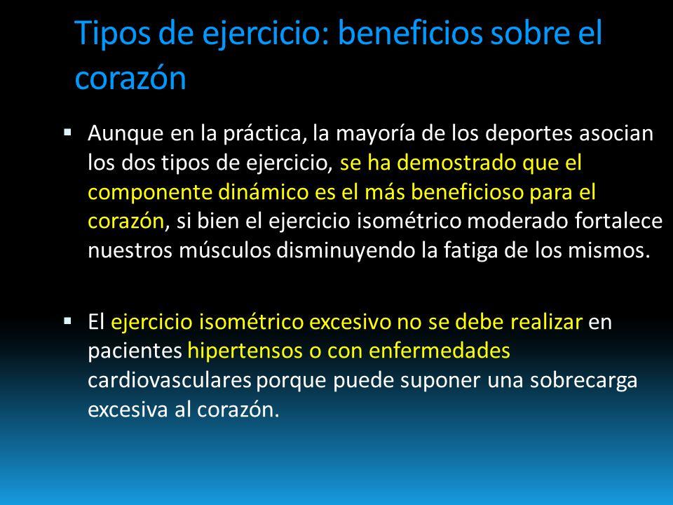 Aunque en la práctica, la mayoría de los deportes asocian los dos tipos de ejercicio, se ha demostrado que el componente dinámico es el más beneficioso para el corazón, si bien el ejercicio isométrico moderado fortalece nuestros músculos disminuyendo la fatiga de los mismos.