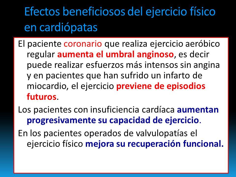 Efectos beneficiosos del ejercicio físico en cardiópatas El paciente coronario que realiza ejercicio aeróbico regular aumenta el umbral anginoso, es decir puede realizar esfuerzos más intensos sin angina y en pacientes que han sufrido un infarto de miocardio, el ejercicio previene de episodios futuros.