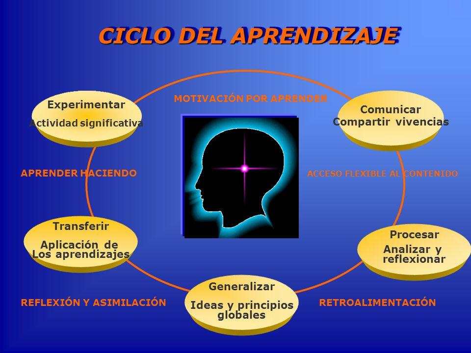 Experimentar Actividad significativa Transferir Aplicación de Los aprendizajes Generalizar Ideas y principios globales Procesar Analizar y reflexionar