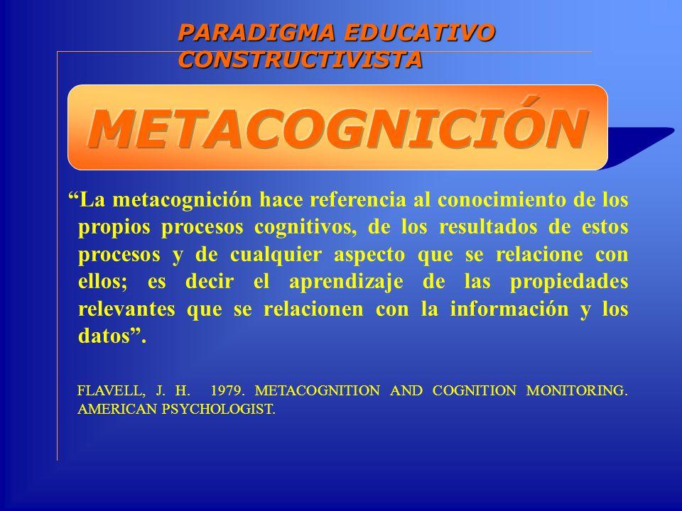 La metacognición hace referencia al conocimiento de los propios procesos cognitivos, de los resultados de estos procesos y de cualquier aspecto que se