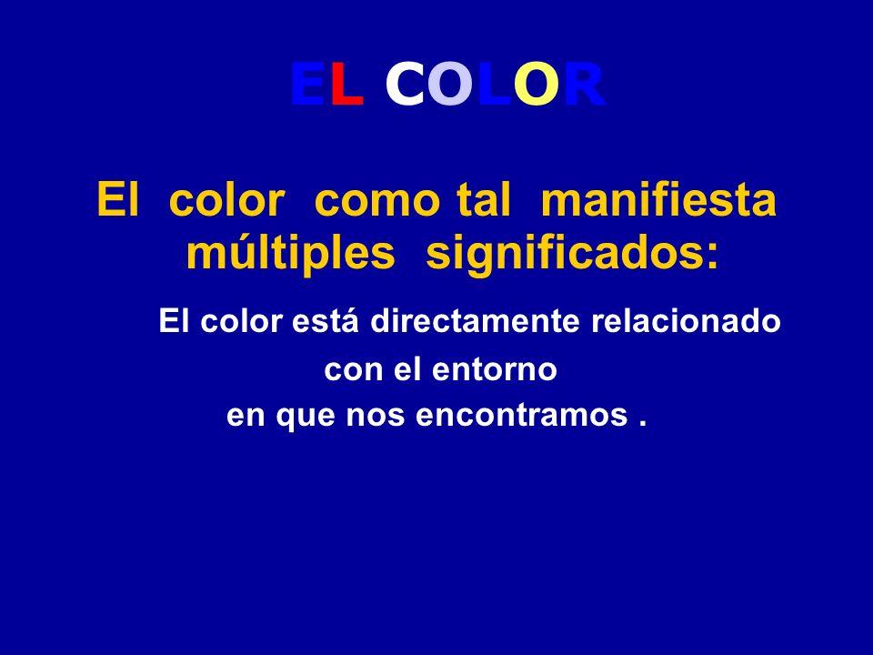 EL COLOR El color como tal manifiesta múltiples significados: El color está directamente relacionado con el entorno en que nos encontramos.