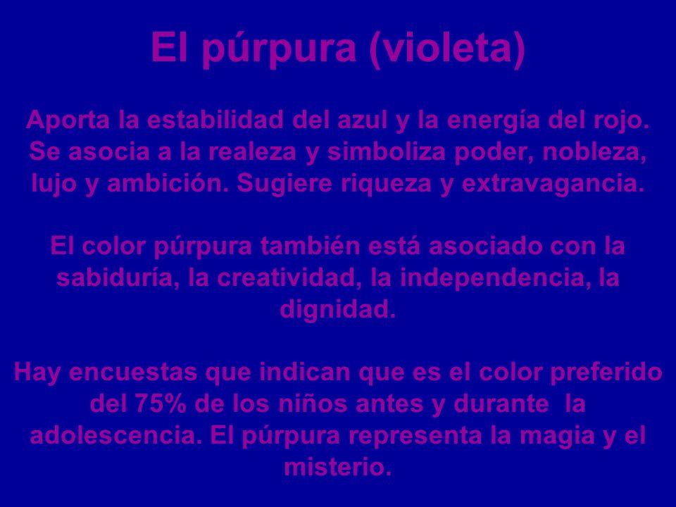 El púrpura (violeta) Aporta la estabilidad del azul y la energía del rojo. Se asocia a la realeza y simboliza poder, nobleza, lujo y ambición. Sugiere