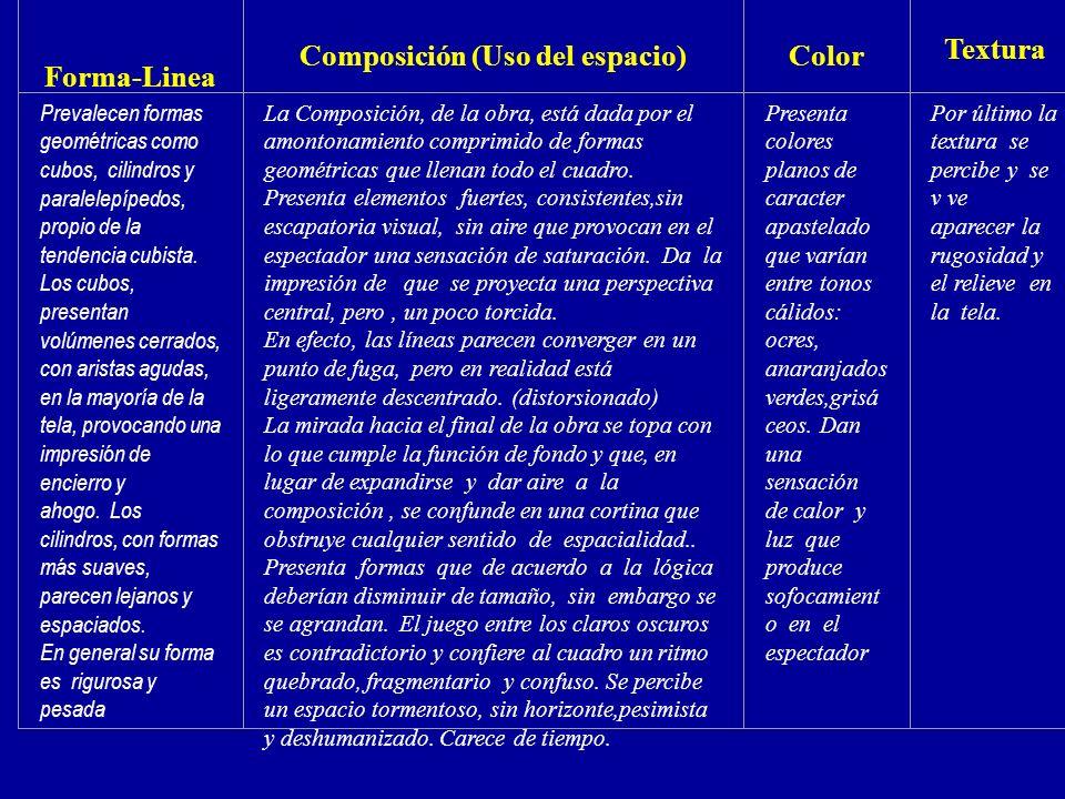 Forma-Linea Composición (Uso del espacio)Color Textura Prevalecen formas geométricas como cubos, cilindros y paralelepípedos, propio de la tendencia c