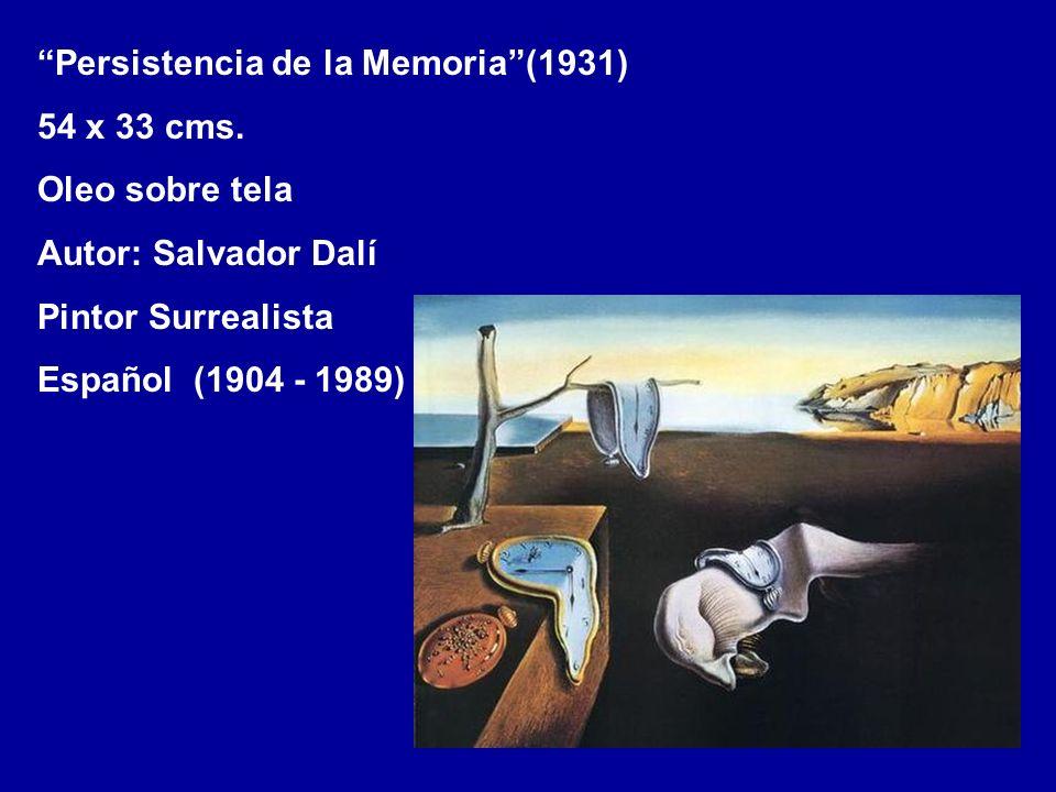 Persistencia de la Memoria(1931) 54 x 33 cms. Oleo sobre tela Autor: Salvador Dalí Pintor Surrealista Español (1904 - 1989)