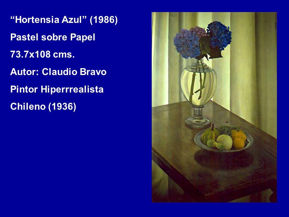 Hortensia Azul (1986) Pastel sobre Papel 73.7x108 cms. Autor: Claudio Bravo Pintor Hiperrrealista Chileno (1936)