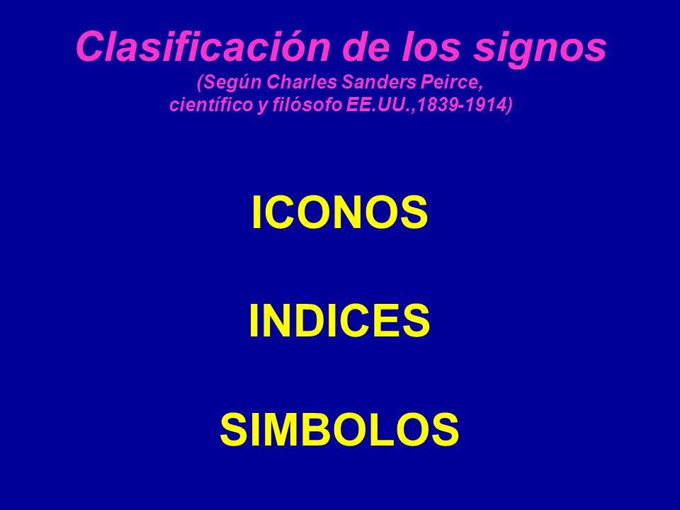 Clasificación de los signos (Según Charles Sanders Peirce, científico y filósofo EE.UU.,1839-1914) ICONOS INDICES SIMBOLOS