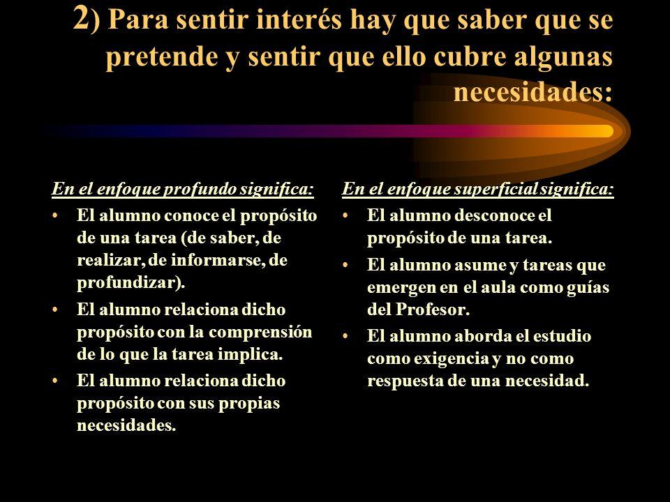 3) La presencia de estas condiciones da como resultado Enfoque Profundo: Un alumno independiente.