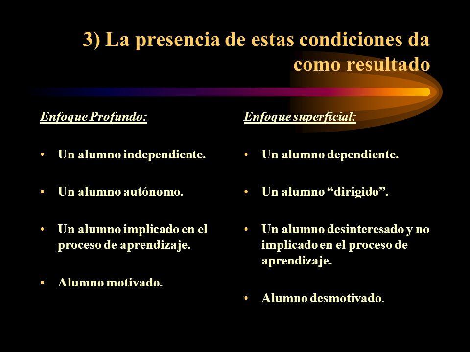 3) La presencia de estas condiciones da como resultado Enfoque Profundo: Un alumno independiente. Un alumno autónomo. Un alumno implicado en el proces