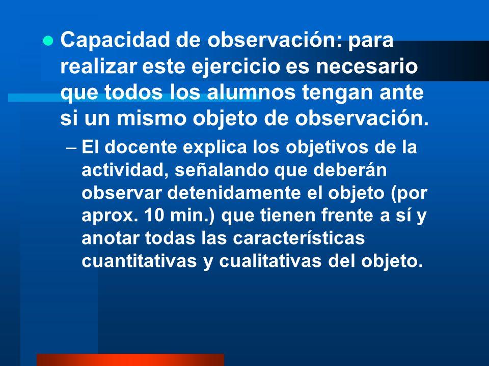 Capacidad de observación: para realizar este ejercicio es necesario que todos los alumnos tengan ante si un mismo objeto de observación. –El docente e