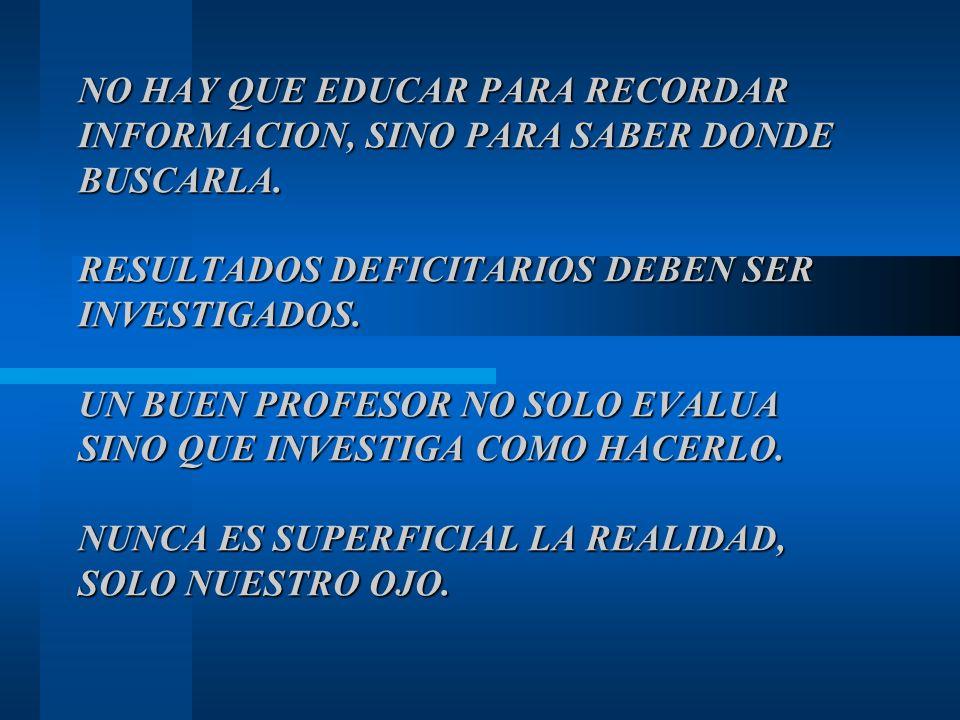NO HAY QUE EDUCAR PARA RECORDAR INFORMACION, SINO PARA SABER DONDE BUSCARLA. RESULTADOS DEFICITARIOS DEBEN SER INVESTIGADOS. UN BUEN PROFESOR NO SOLO