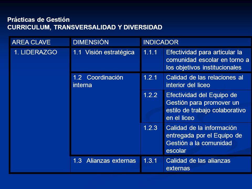 Prácticas de Gestión CURRICULUM, TRANSVERSALIDAD Y DIVERSIDAD AREA CLAVEDIMENSIÓNINDICADOR 1. LIDERAZGO1.1 Visión estratégica1.1.1Efectividad para art