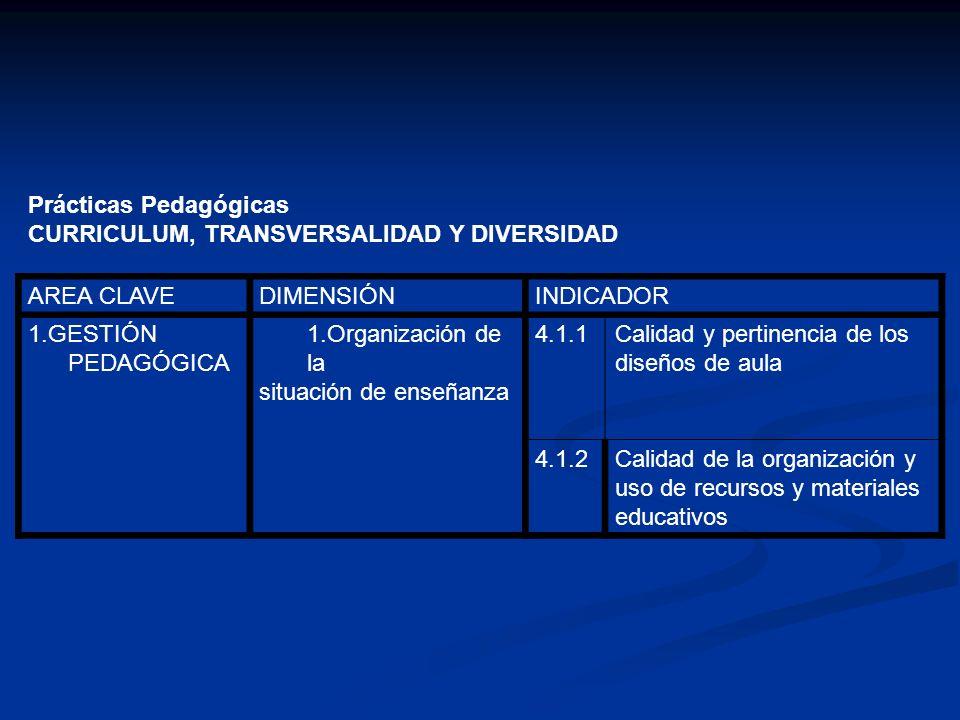 Prácticas Pedagógicas CURRICULUM, TRANSVERSALIDAD Y DIVERSIDAD AREA CLAVEDIMENSIÓNINDICADOR 1.ACCIÓN DOCENTE EN EL AULA 1.Estrategias de enseñanza 5.1.1Calidad de las estrategias didácticas para asegurar que todos los estudiantes aprendan 1.Procedimient os de evaluación 5.2.1Calidad de la articulación entre los objetivos y el logro de aprendizaje de los estudiantes 5.3 Interacción pedagógica 5.3.1Calidad de la relación pedagógica entre profesor y estudiante