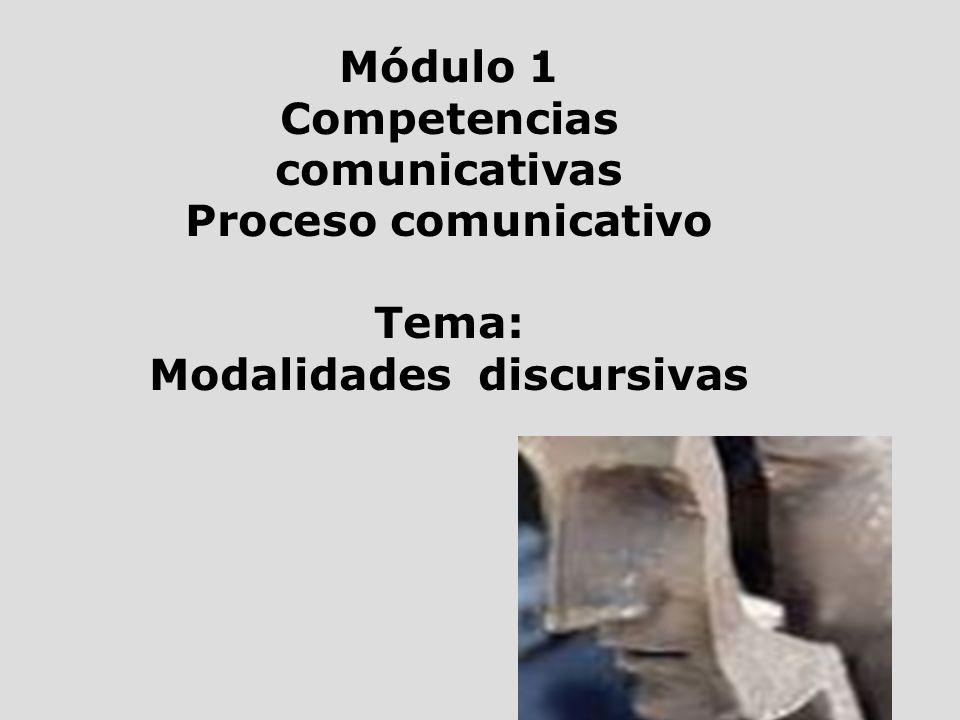 Módulo 1 Competencias comunicativas Proceso comunicativo Tema: Modalidades discursivas