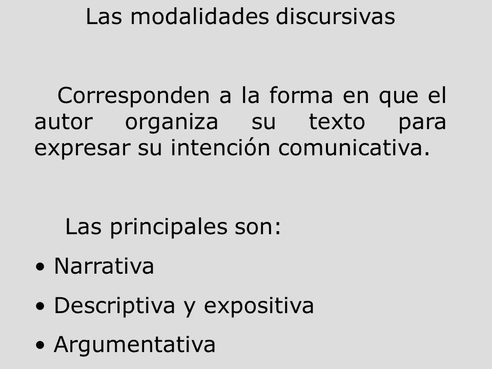 Las modalidades discursivas Corresponden a la forma en que el autor organiza su texto para expresar su intención comunicativa. Las principales son: Na