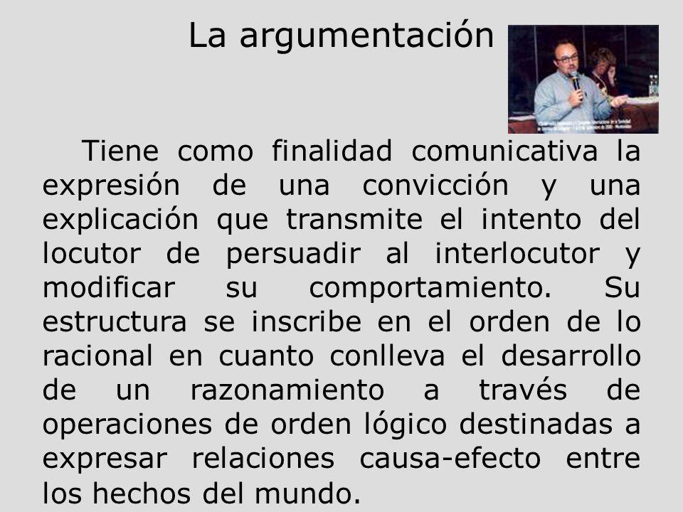 La argumentación Tiene como finalidad comunicativa la expresión de una convicción y una explicación que transmite el intento del locutor de persuadir