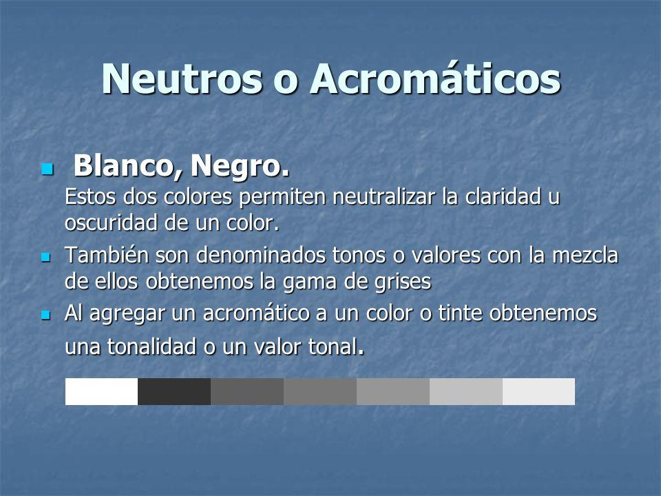 Neutros o Acromáticos Blanco, Negro. Estos dos colores permiten neutralizar la claridad u oscuridad de un color. Blanco, Negro. Estos dos colores perm