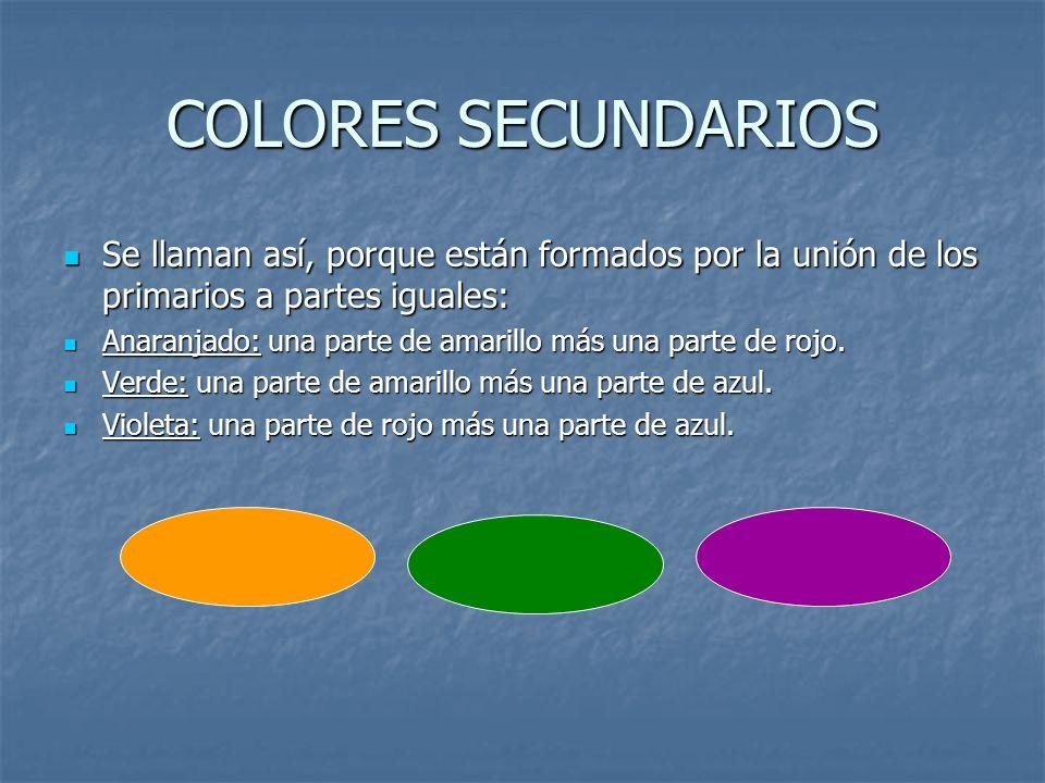 COLORES SECUNDARIOS Se llaman así, porque están formados por la unión de los primarios a partes iguales: Se llaman así, porque están formados por la u