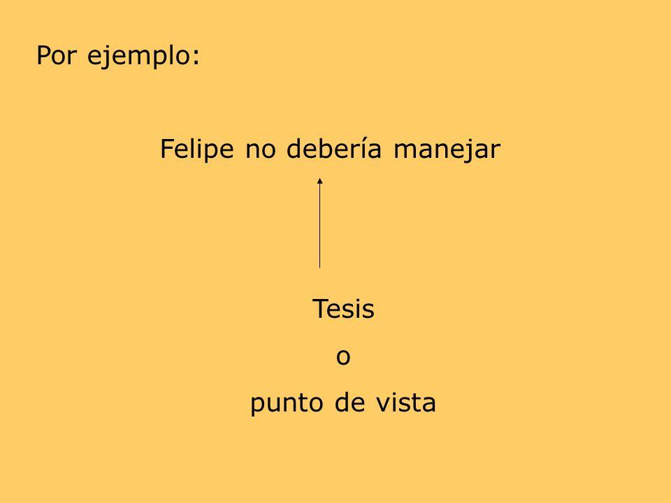 Por ejemplo: Felipe no debería manejar Tesis o punto de vista