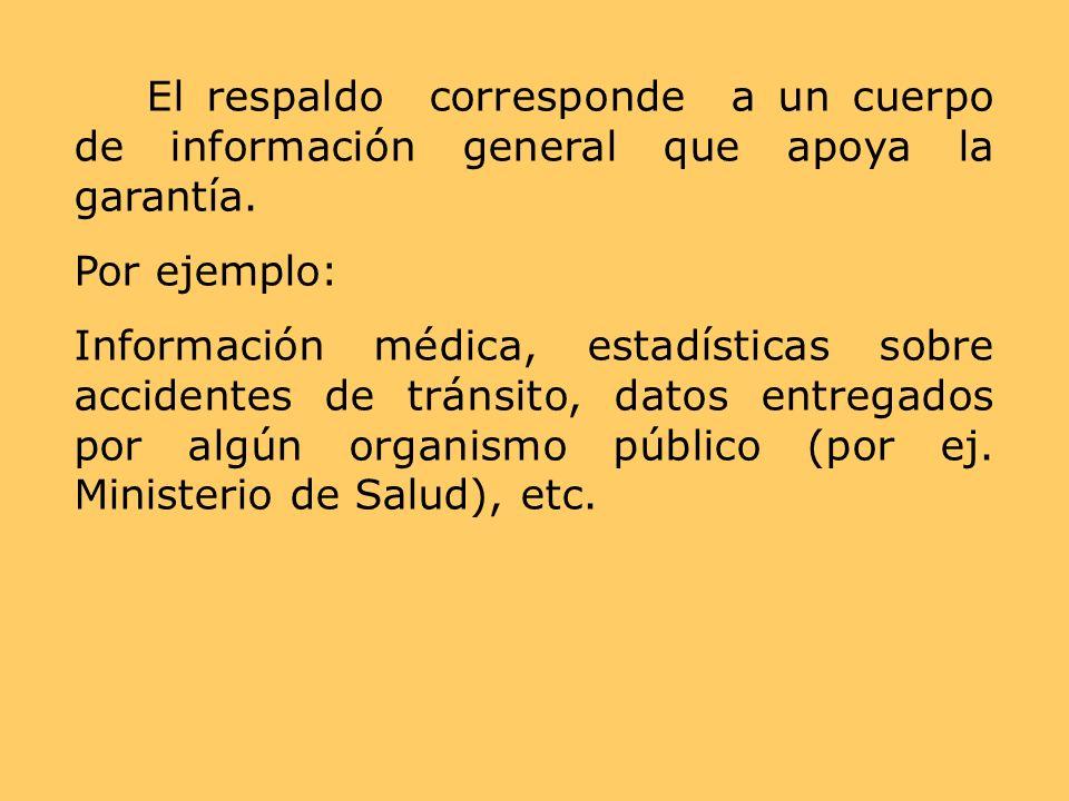 El respaldo corresponde a un cuerpo de información general que apoya la garantía. Por ejemplo: Información médica, estadísticas sobre accidentes de tr