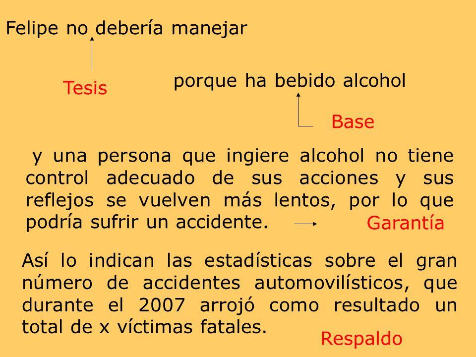 y una persona que ingiere alcohol no tiene control adecuado de sus acciones y sus reflejos se vuelven más lentos, por lo que podría sufrir un accident
