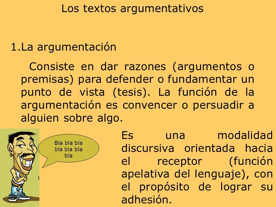 Los textos argumentativos 1.La argumentación Consiste en dar razones (argumentos o premisas) para defender o fundamentar un punto de vista (tesis). La