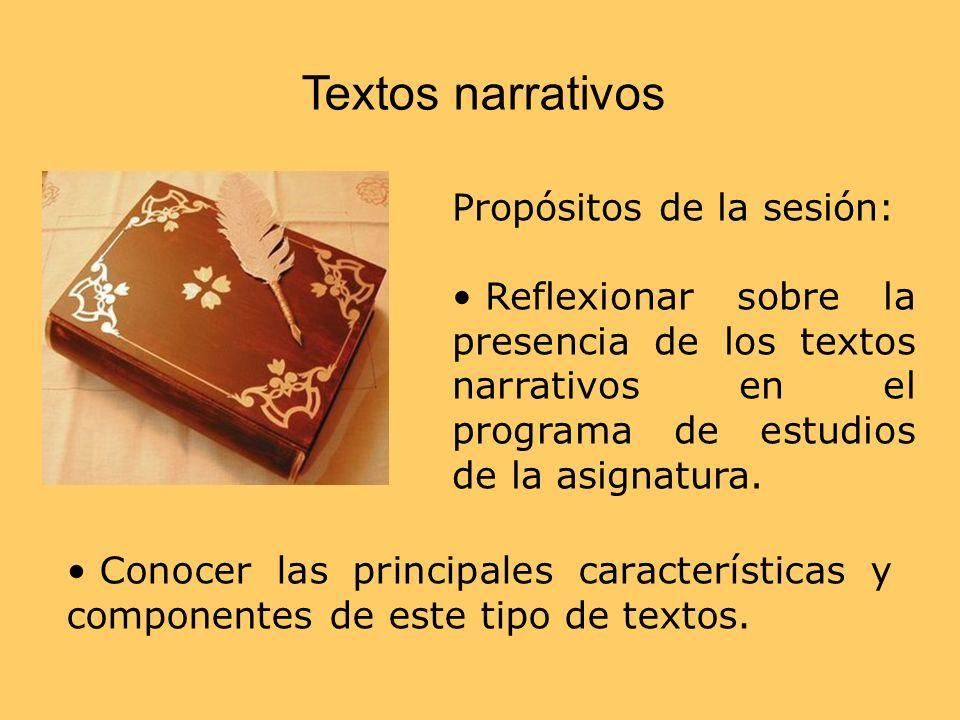 Textos narrativos Propósitos de la sesión: Reflexionar sobre la presencia de los textos narrativos en el programa de estudios de la asignatura. Conoce