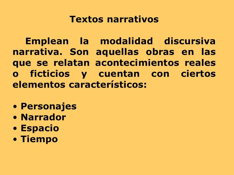 Textos narrativos Emplean la modalidad discursiva narrativa. Son aquellas obras en las que se relatan acontecimientos reales o ficticios y cuentan con