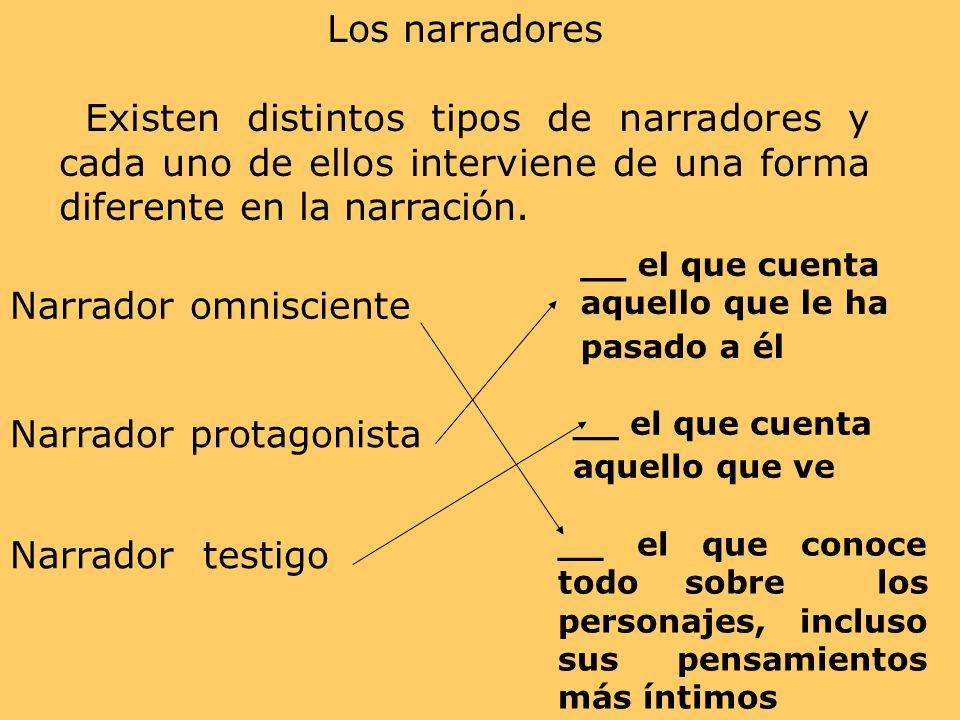 Los narradores Existen distintos tipos de narradores y cada uno de ellos interviene de una forma diferente en la narración. Narrador omnisciente Narra