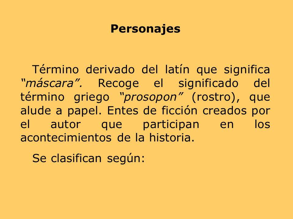 Personajes Término derivado del latín que significa máscara. Recoge el significado del término griego prosopon (rostro), que alude a papel. Entes de f