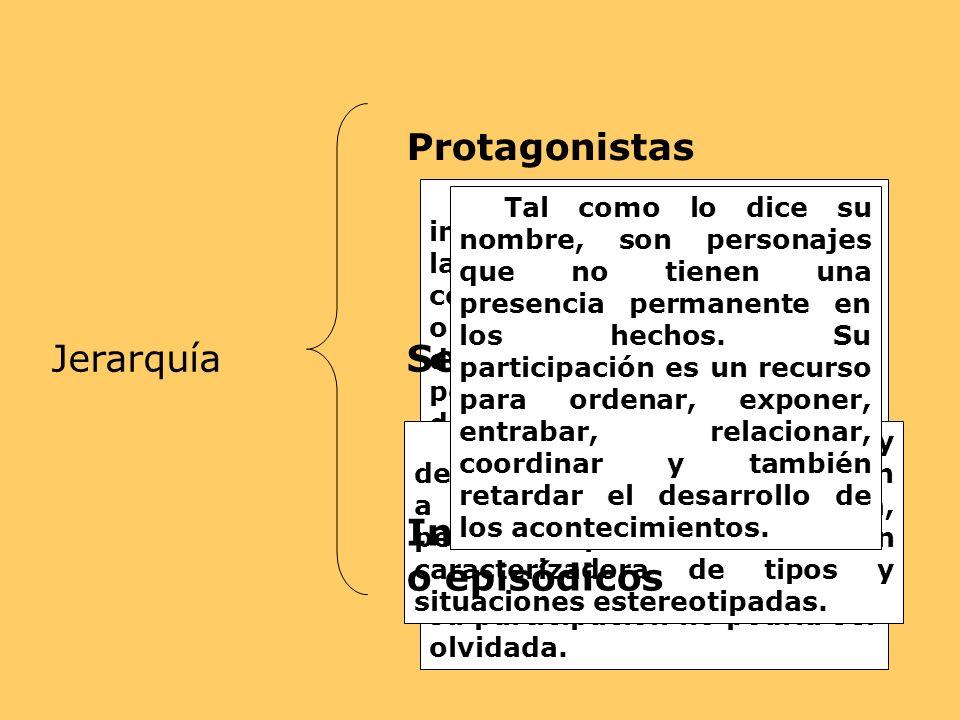 Jerarquía Protagonistas Son los de mayor influencia en el desarrollo de la historia; aparecen desde el comienzo hasta el desenlace o final. La narraci