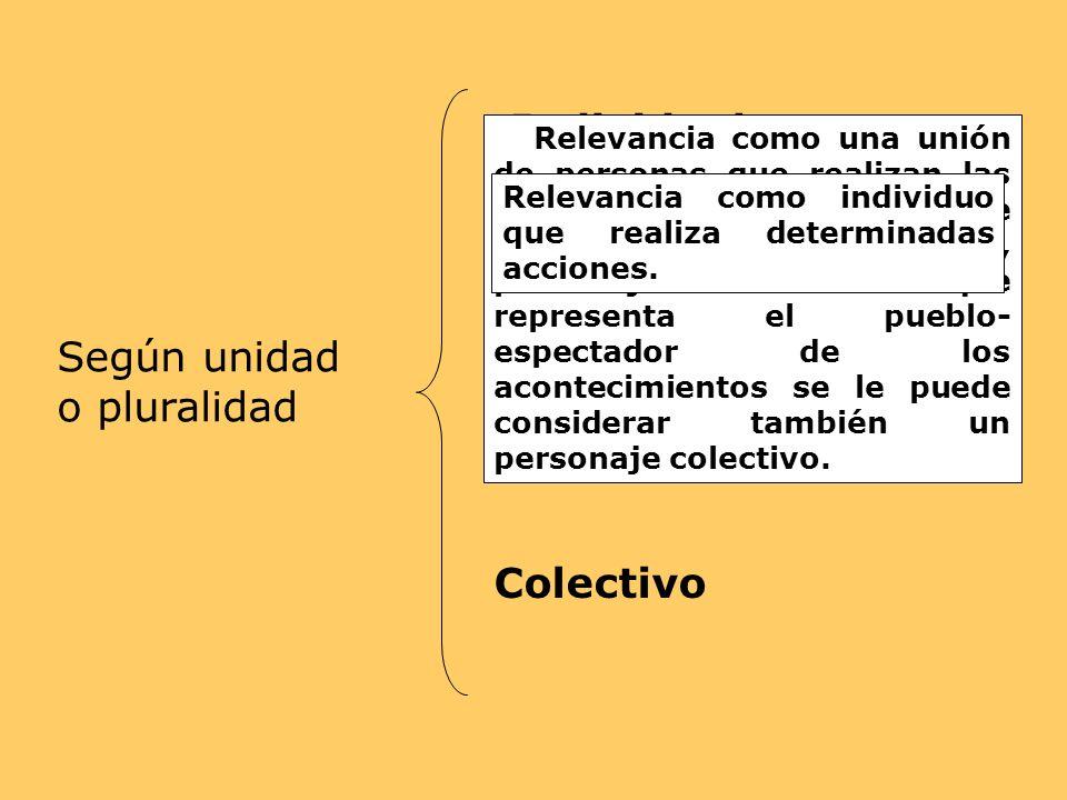 Según unidad o pluralidad Individual Colectivo Relevancia como una unión de personas que realizan las acciones. Ejemplo: Crónica de una muerte anuncia