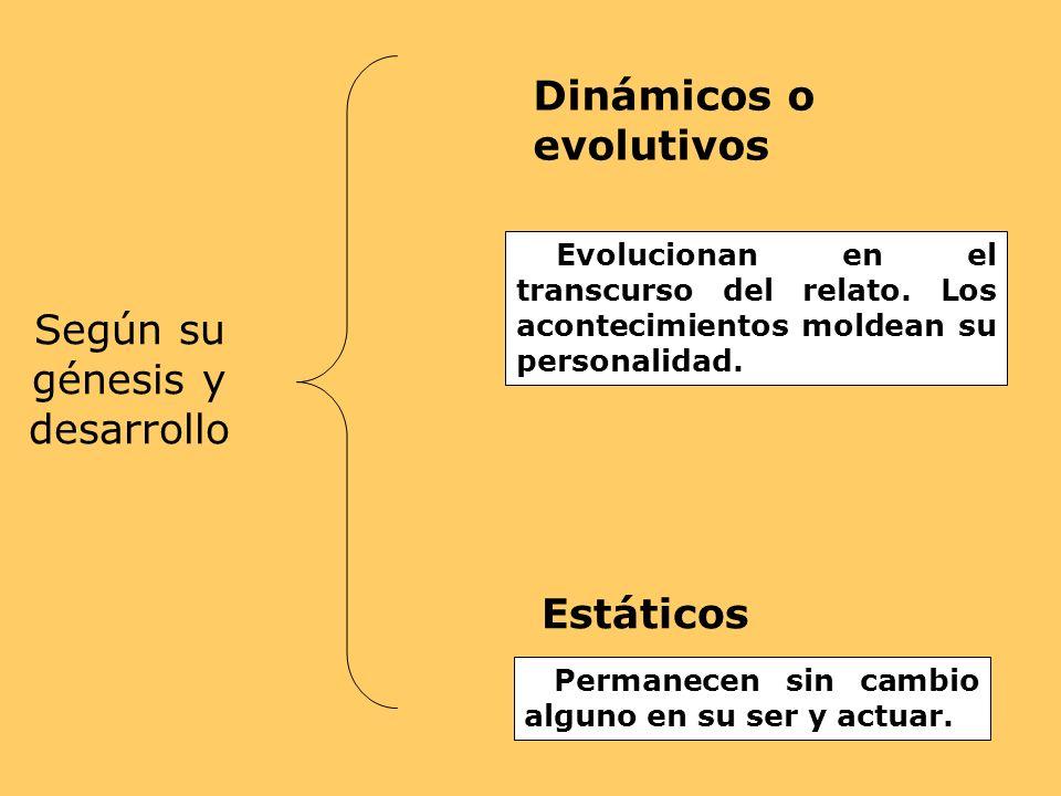 Según su génesis y desarrollo Dinámicos o evolutivos Evolucionan en el transcurso del relato. Los acontecimientos moldean su personalidad. Estáticos P