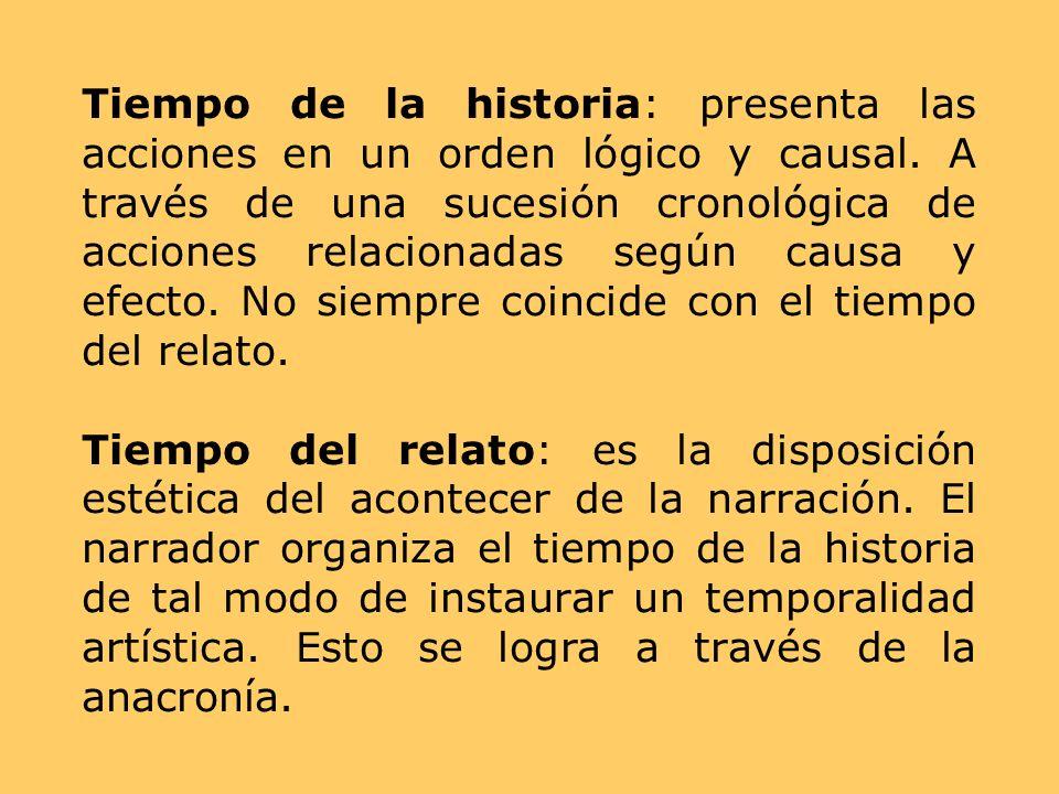 Tiempo de la historia: presenta las acciones en un orden lógico y causal. A través de una sucesión cronológica de acciones relacionadas según causa y