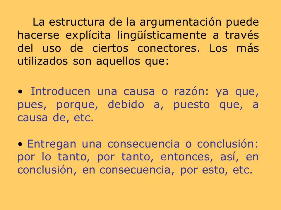 La estructura de la argumentación puede hacerse explícita lingüísticamente a través del uso de ciertos conectores. Los más utilizados son aquellos que