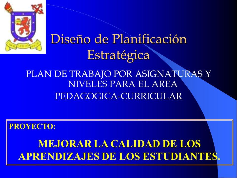 Diseño de Planificación Estratégica PLAN DE TRABAJO POR ASIGNATURAS Y NIVELES PARA EL AREA PEDAGOGICA-CURRICULAR PROYECTO: MEJORAR LA CALIDAD DE LOS A