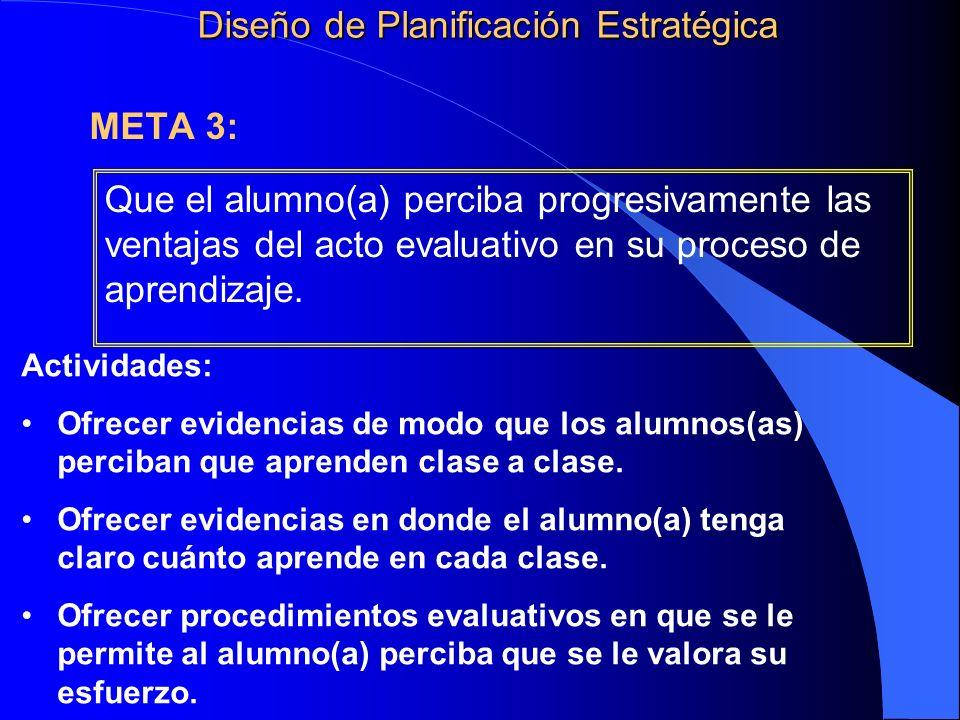Que el alumno(a) perciba progresivamente las ventajas del acto evaluativo en su proceso de aprendizaje. Diseño de Planificación Estratégica Actividade