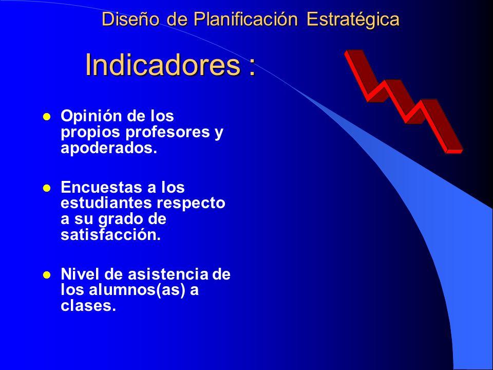 Indicadores : Indicadores : l Opinión de los propios profesores y apoderados. l Encuestas a los estudiantes respecto a su grado de satisfacción. l Niv